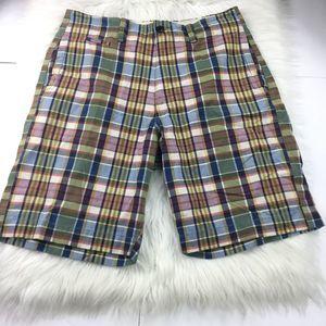 American Eagle Green Plaid Bermuda Chino shorts 34